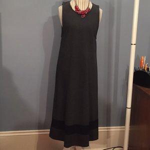 EUC Talbots shift dress gray with black stripe szM